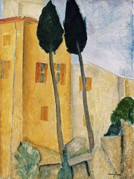 Cypress Trees and Houses, Midday Landscape 1919 Amedeo Modigliani