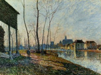 A February Morning at Moret-sur-Loing  1881 | Alfred Sisley | Oil Painting