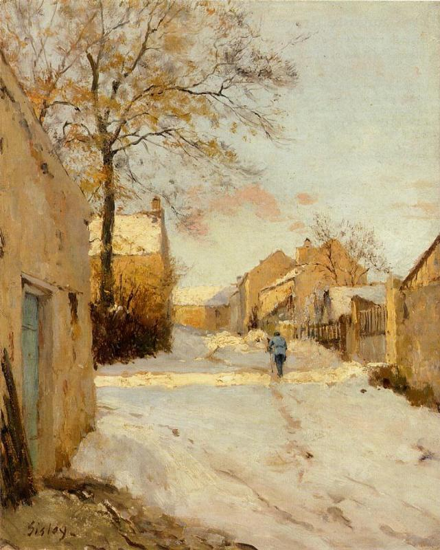 A Village Street in Winter  1893 | Alfred Sisley | Oil Painting