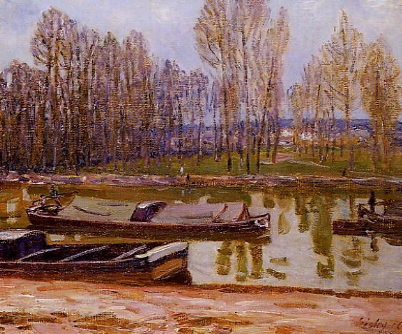 Barges on the Loing Canal Spring  1896 | Alfred Sisley | Oil Painting