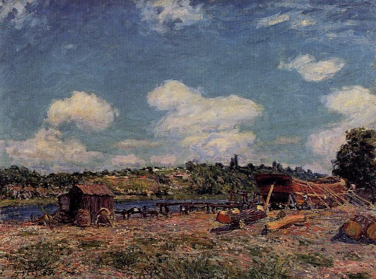 Boatyard at Saint-Mammes  1885 | Alfred Sisley | Oil Painting