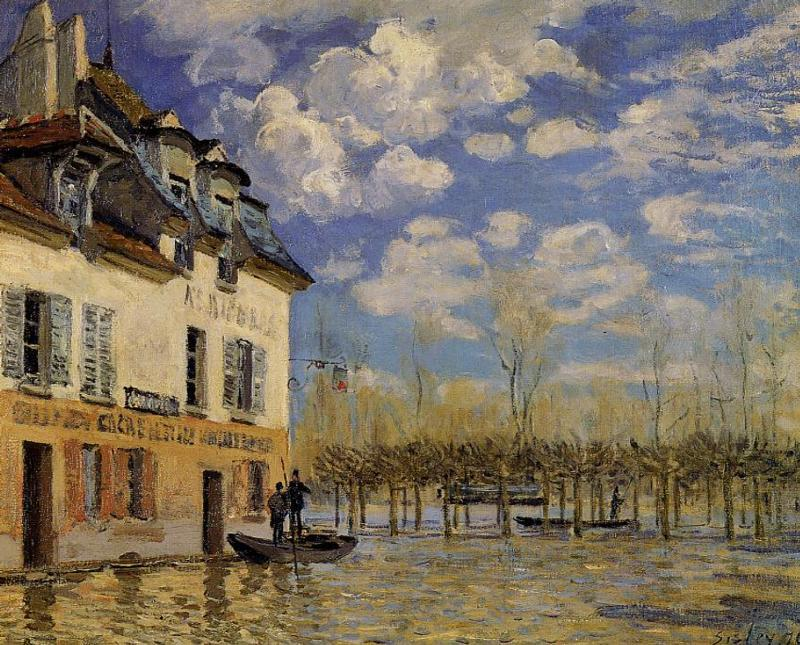 Boat in the Flood at Port-Marly  1876 | Alfred Sisley | Oil Painting