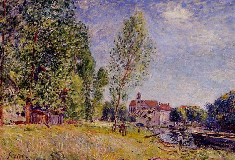 Matratat's Boatyard Moret-sur-Loing  1883   Alfred Sisley   Oil Painting