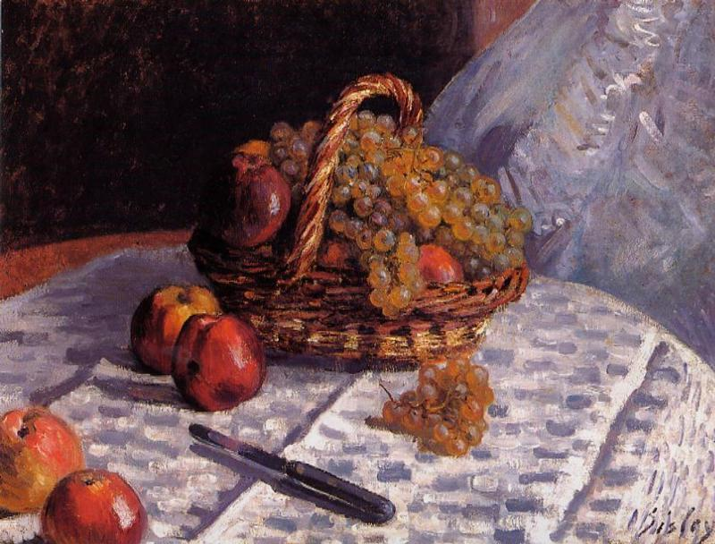 Still Life - Apples and Grapes  1876 | Alfred Sisley | Oil Painting