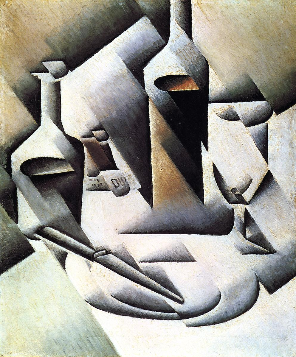 Bottles and Knife 1911-1912 | Juan Gris | Oil Painting