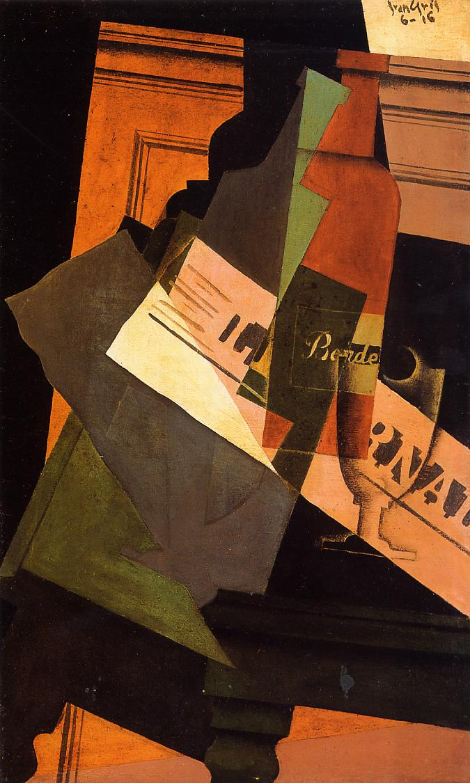 Bottle Glass and Newspaper 1916 | Juan Gris | Oil Painting