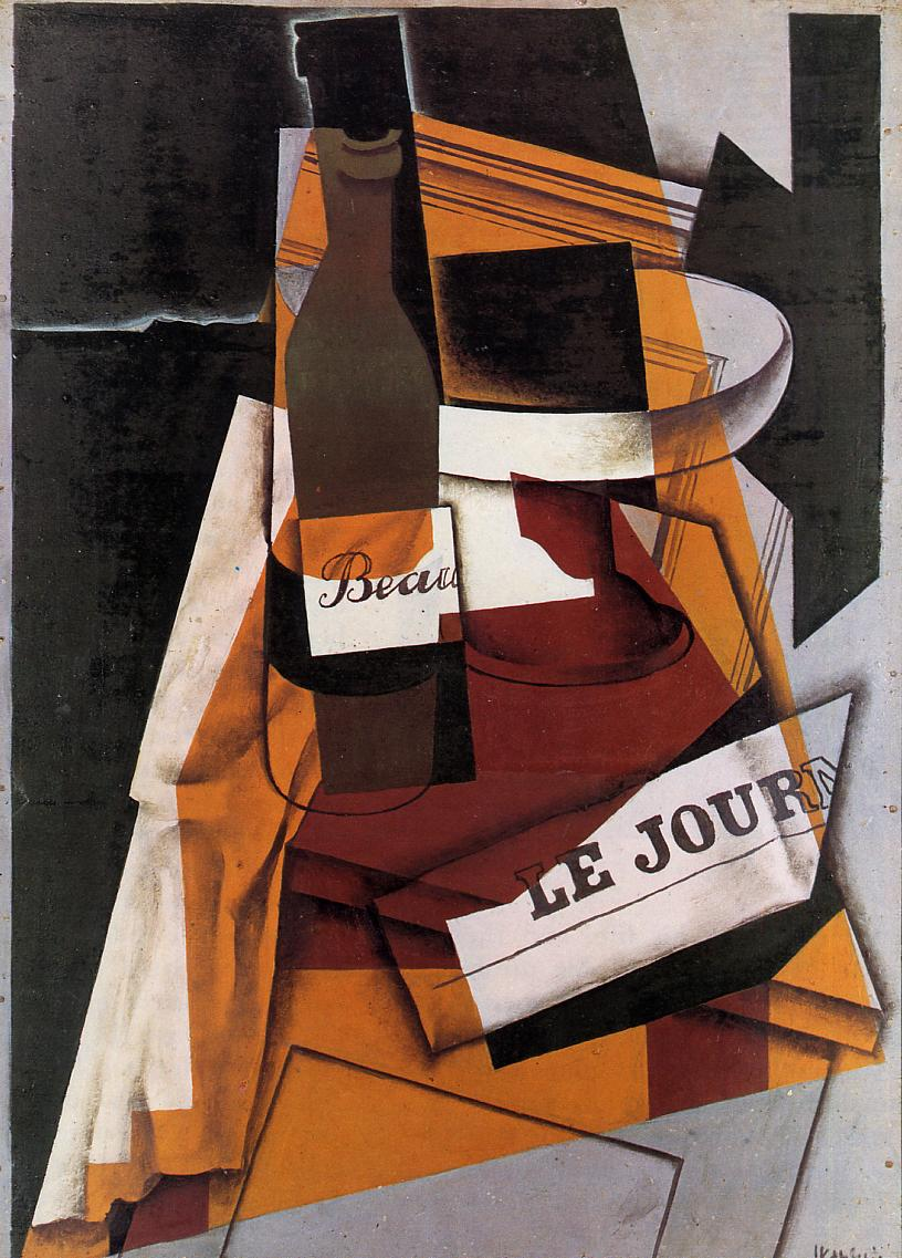 Bottle Newspaper and Fruit Bowl 1915 | Juan Gris | Oil Painting