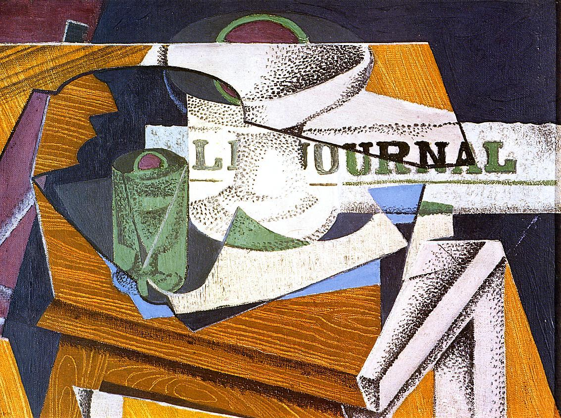 Fruit Bowl Book and Newspaper 1916 | Juan Gris | Oil Painting
