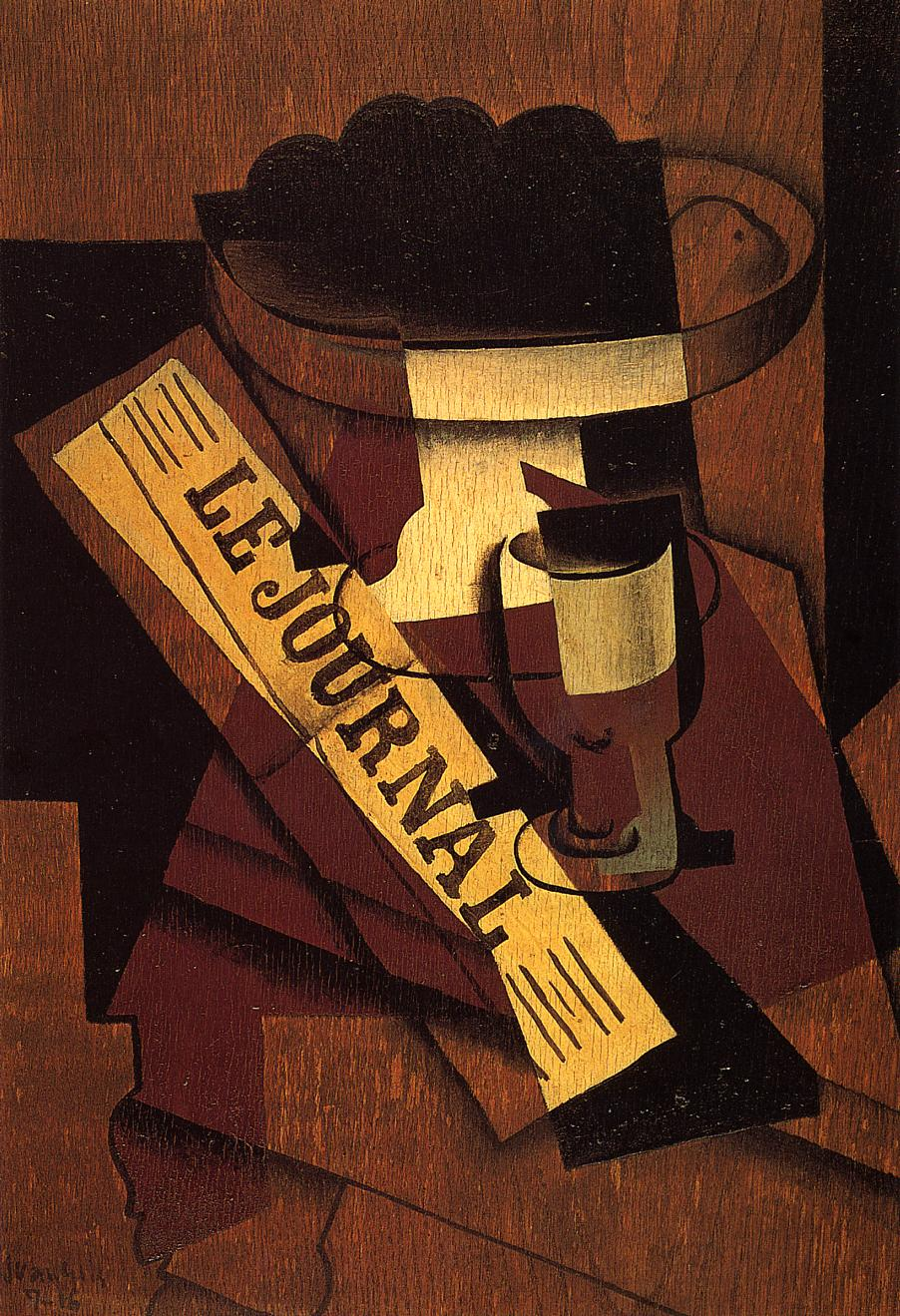 Fruit Dish Glass and Newspaper 1916 | Juan Gris | Oil Painting