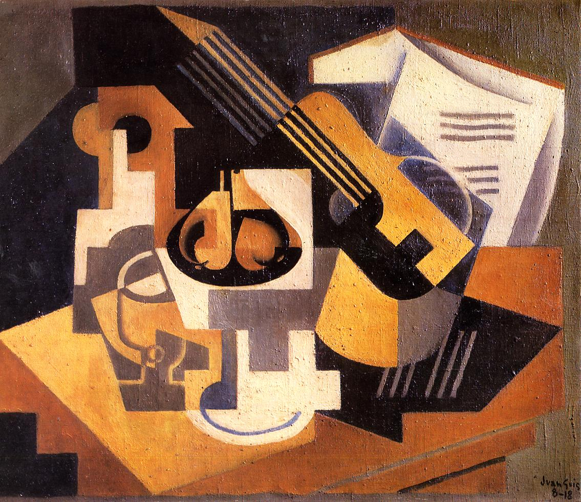 Guitar and Fruit Bowl on a Table 1918 | Juan Gris | Oil Painting