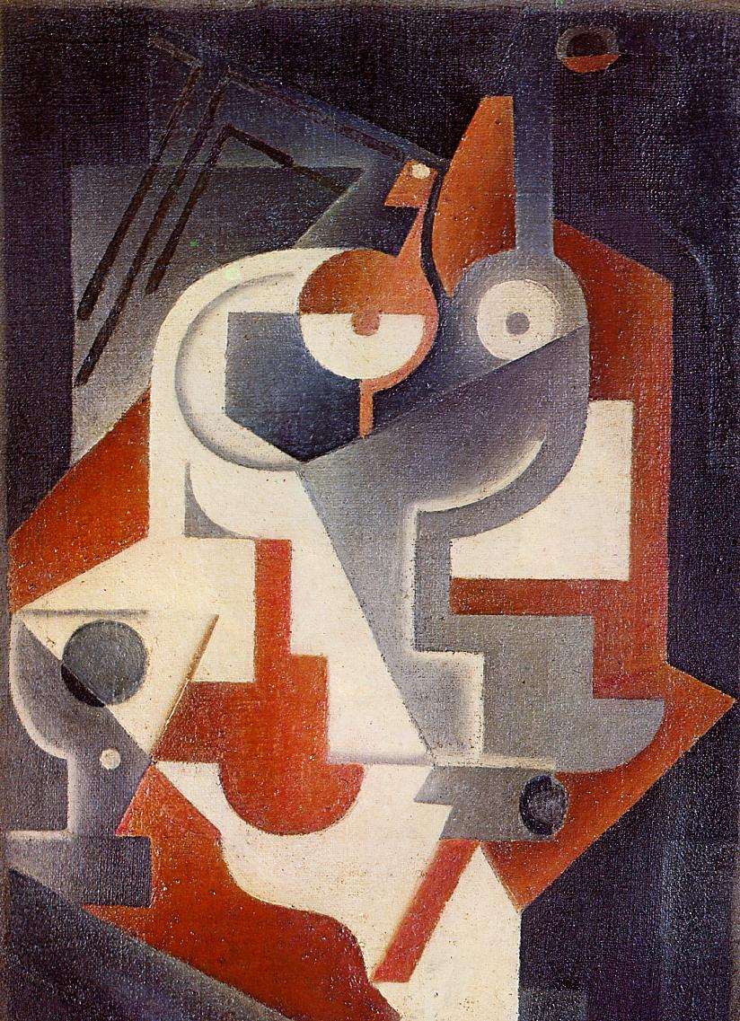 Newspaper Glass and Pear 1917 | Juan Gris | Oil Painting