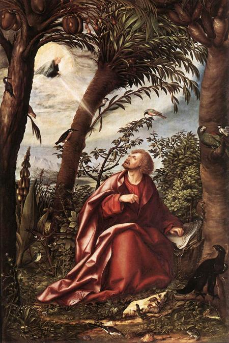 St John the Evangelist in Patmos 1508   Hans the elder Burgkmair   Oil Painting