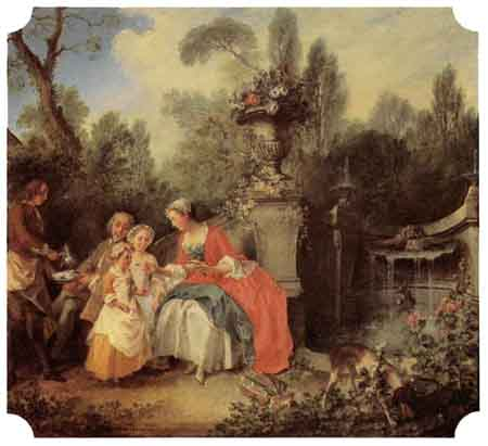 Lady and Gentleman with two Girls and a Servant 1742   Nicolas Lancret   Oil Painting