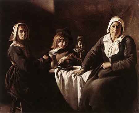 Four Figures at Table 1630 | Louis Le Nain | Oil Painting