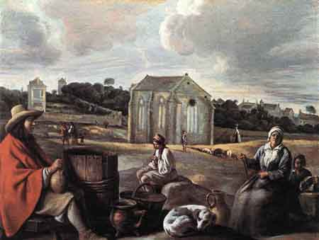 Landscape with Peasants and a Chapel | Louis Le Nain | Oil Painting