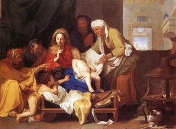 Holy Family with the Adoration of the Child 1655 | Charles Le Brun | Oil Painting