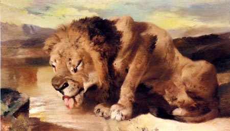 Lion Drinking At A Stream | Sir Edwin Henry Landseer | Oil Painting