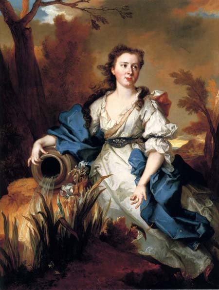 Portrait of Marianne de Mahony full length in a blue and white dress as a water nymph   Nicolas De Largilliere   Oil Painting