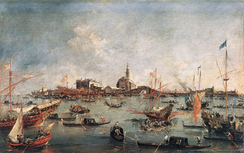 The Doge on the Bucentaur at San Niccolo del Lido 1766 1770 | Francesco Guardi | Oil Painting