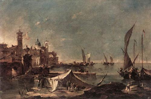 Landscape with a Fishermans Tent 1770 1775   Francesco Guardi   Oil Painting