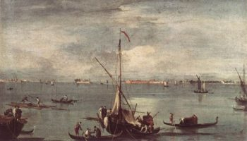 The Lagoon with Boats Gondolas and Rafts 1758 | Francesco Guardi | Oil Painting