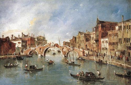 The Three Arched Bridge at Cannaregio 1765 1770   Francesco Guardi   Oil Painting