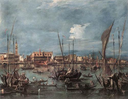 The Molo and the Riva degli Schiavoni from the Bacino di San Marco 1760 | Francesco Guardi | Oil Painting