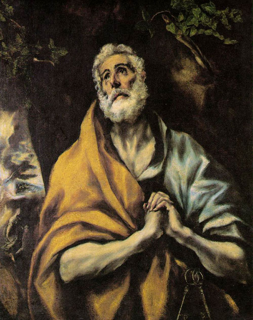 The Repentant Peter 1600   El Greco   Oil Painting