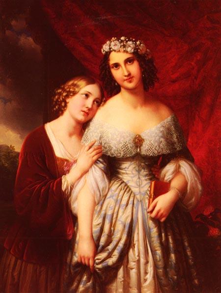 Die Madchen 1846   Johann Nepomuk Ender   Oil Painting