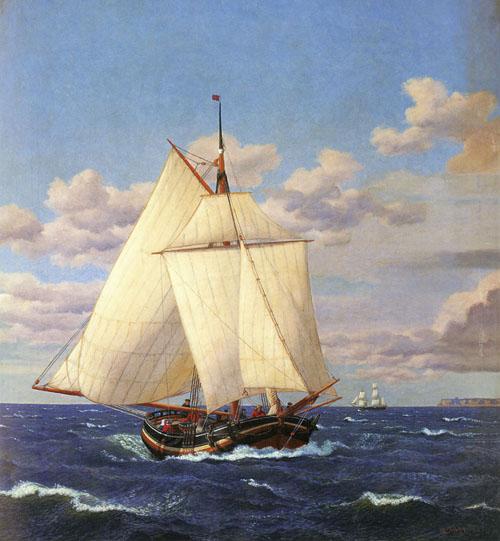 En dansk yacht passerer Stevns   Christoffer Wilhelm Eckersberg   Oil Painting