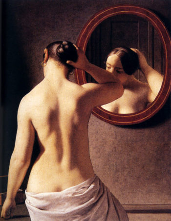 Woman Standing In Front Of A Mirror 1841 | Christoffer Wilhelm Eckersberg | Oil Painting