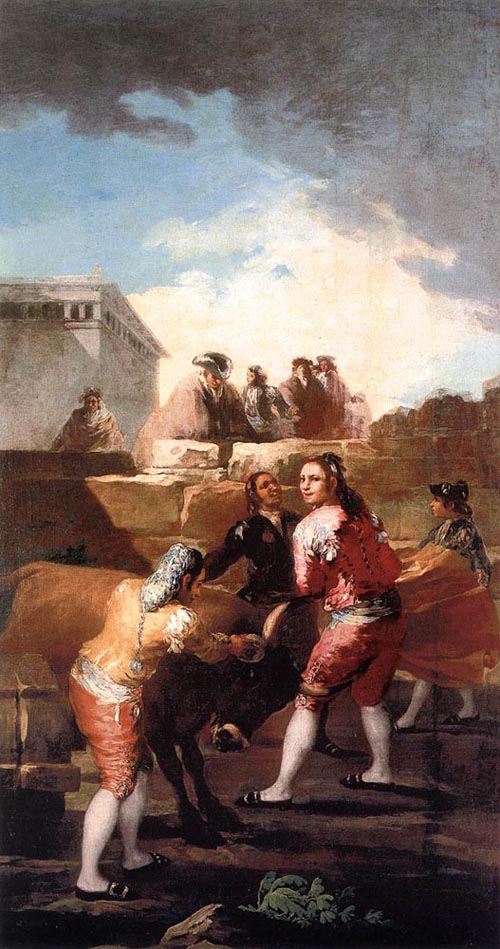 Fight with a Young Bull 1780   Francisco de Goya   Oil Painting