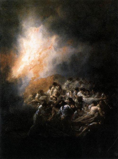 Fire at Night 1793 1794   Francisco de Goya   Oil Painting