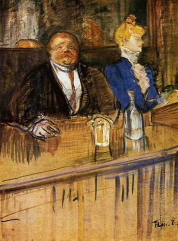 At the Carfe The Customer and the Anemic Cashier 1898-1899 | Henri Toulouse Lautrec | Oil Painting