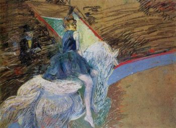 At the Cirque Fernando Rider on a White Horse 1888 | Henri Toulouse Lautrec | Oil Painting