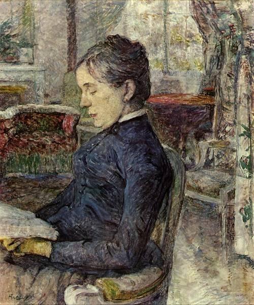 Comtesse a.de Toulouse-Lautrec in the Salon at Malrome 1887   Henri Toulouse Lautrec   Oil Painting