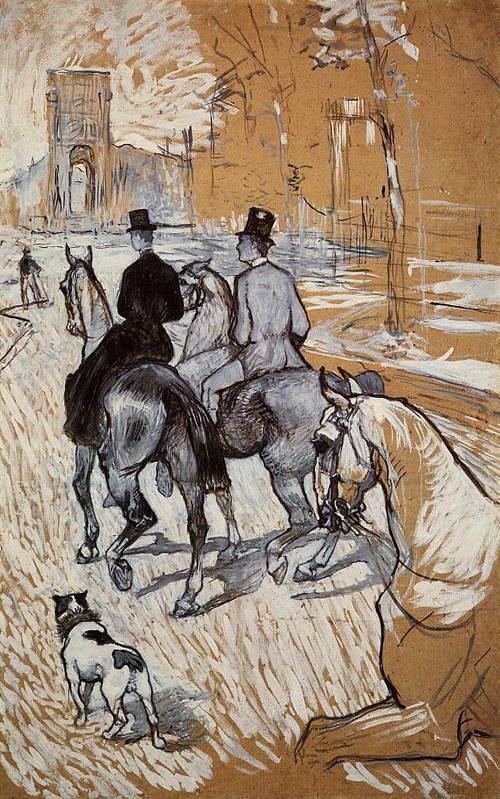 Horsemen Riding in the Bois de Boulogne 1888 | Henri Toulouse Lautrec | Oil Painting