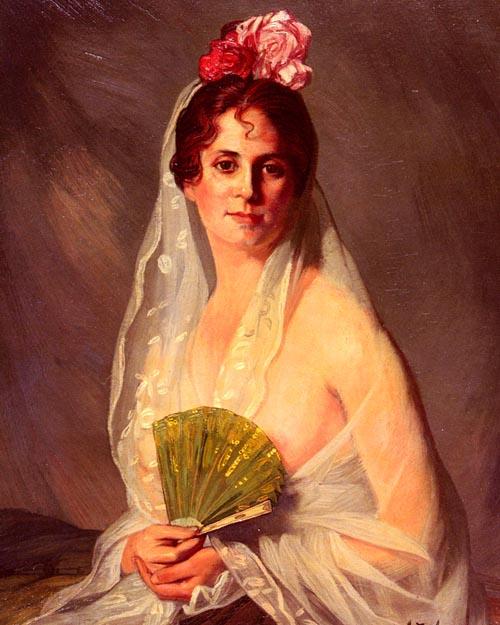 A Lady With A Fan | Eduardo Zamacois y Zabala | Oil Painting