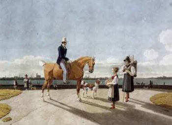 Gentleman on Horseback and Country Girl on the Banks of the Isar near Munich 1831 | Wilhelm von Kobell | Oil Painting