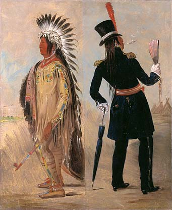 Pigeon's Egg Head The Light Going to and Returning from Washington 1837 1839   George Catlin   Oil Painting