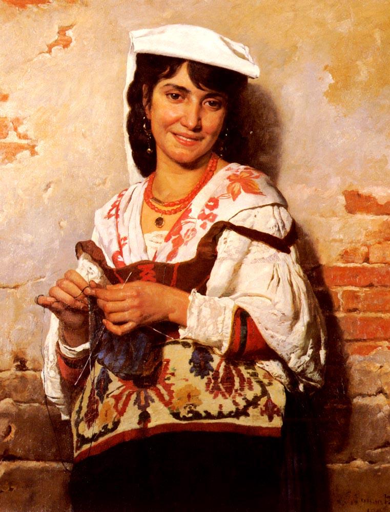 Florentin Jeune Fille Italienne | Leon Bonnat | Oil Painting