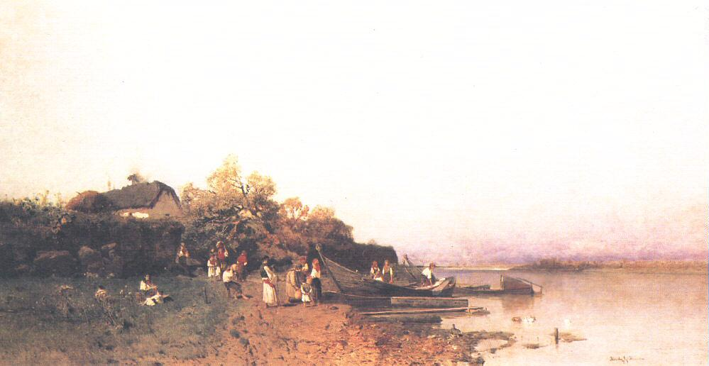 Fishing Boat on the Shore of the Tisza 1877 | Geza Meszoly | Oil Painting