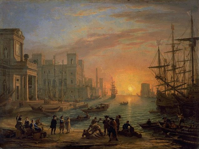 Seaport With Sunset 1639 | Claude Gellee | Oil Painting
