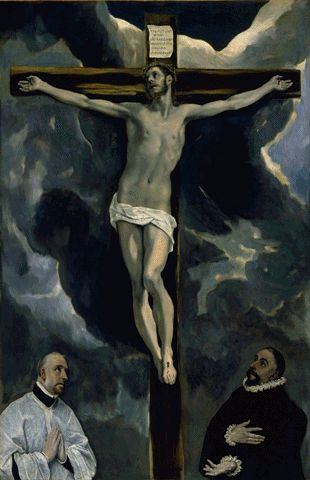 Christ On The Cross Adored By Donors Circa 1585-1590 | Domenicos Theotocopoulos | Oil Painting