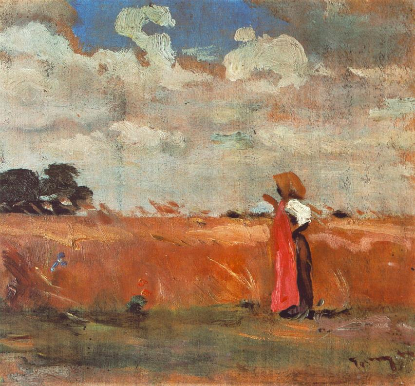 Wheatland with Woman of Shawl 1912 | Janos Tornyai | Oil Painting