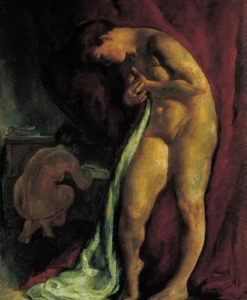 Nude in Front of a Red Drapery (After Bath) c 1919 | Istvan Szonyi | Oil Painting