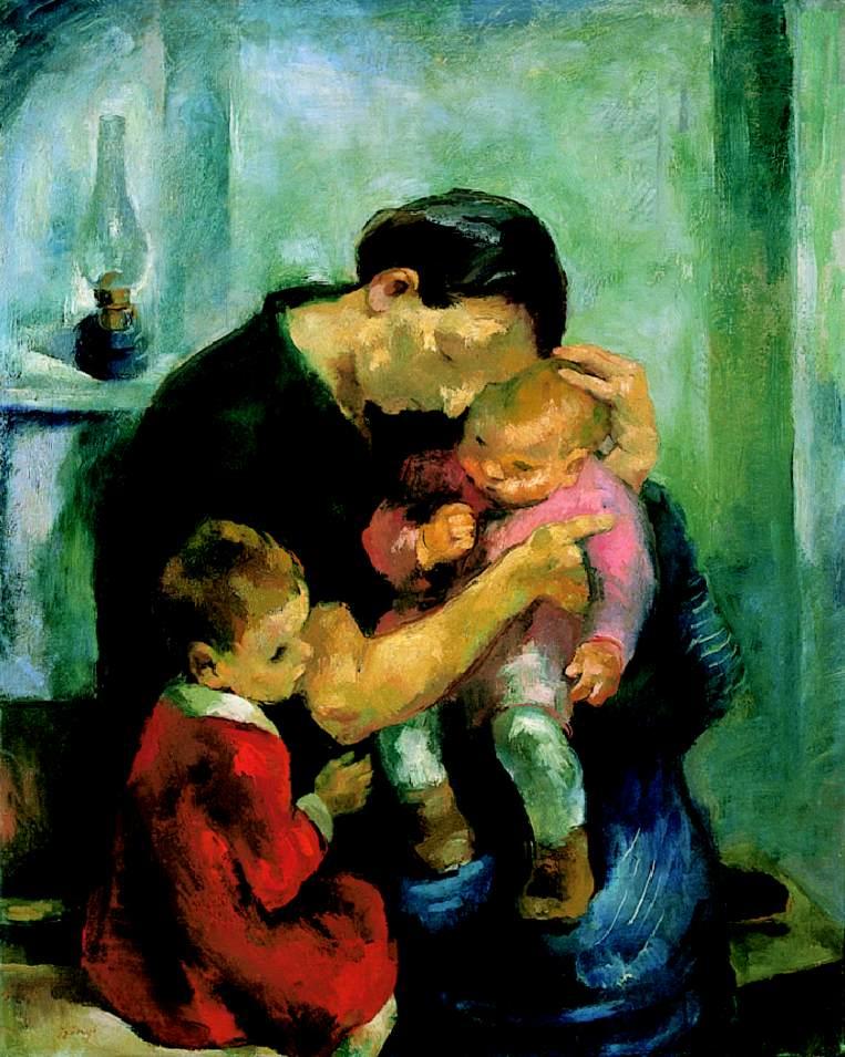Mother (Motherhood; Mother with Her Children) 1928 | Istvan Szonyi | Oil Painting