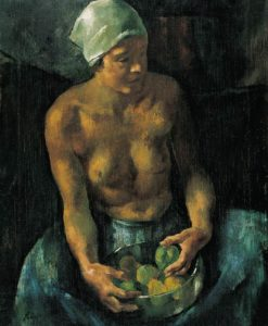 Girl with Apples (Half Nude with a Bowl of Fruits) 1921 | Istvan Szonyi | Oil Painting