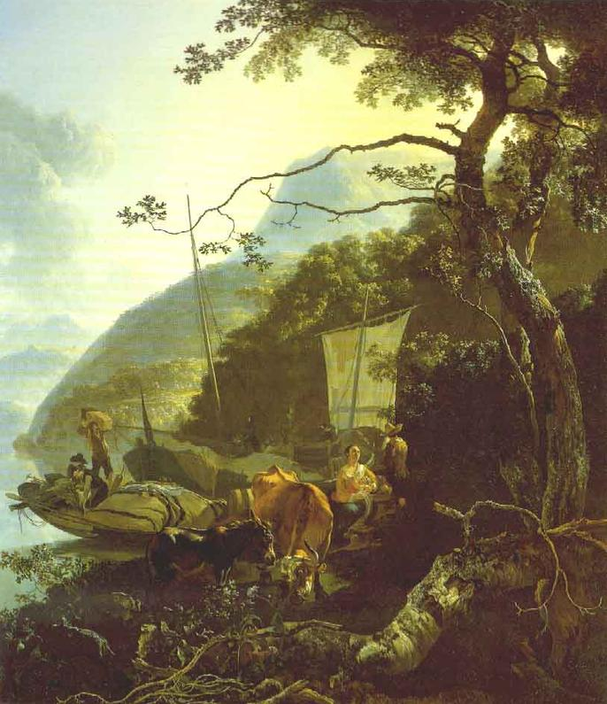 Boatmen Moored on the Shore of an Italian Lake 1668 | Adam Pynacker | Oil Painting