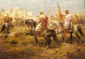 Arab Cavalry Approaching An Oasis | Adolf Schreyer | Oil Painting